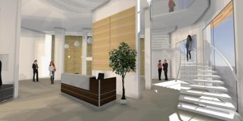 Architectural visualisation, Decora Office entrance, Lisburn, Co. Antrim.