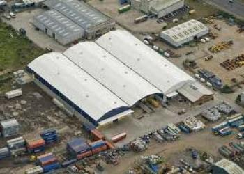 Arial view Industrial units, Dargan, Belfast Harbour Estate, Co. Antrim.